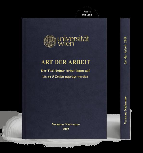 Hardcover in Lederoptik dunkelblau mit Prägung