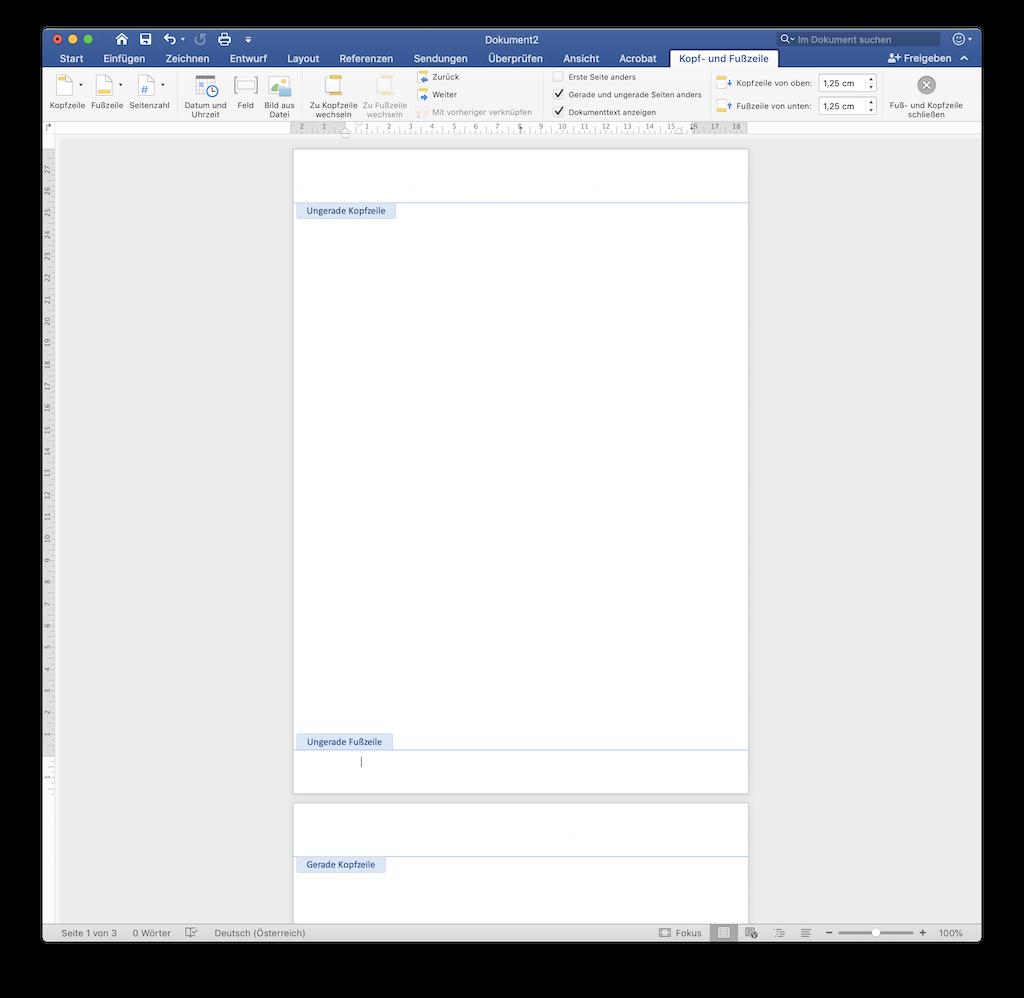 Seitenzahlen in Fußzeilen in Word doppelseitiger Druck