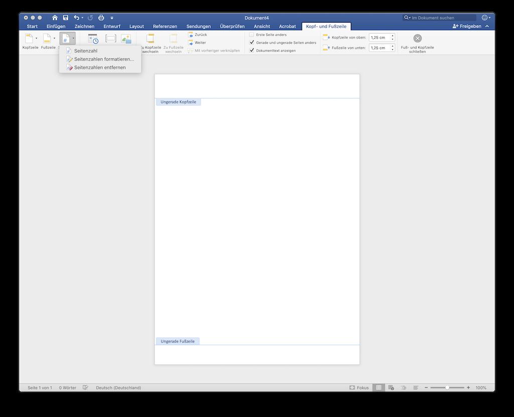 Seitenanzahl in Word ungerade gerade Seitennummer hinzufügen
