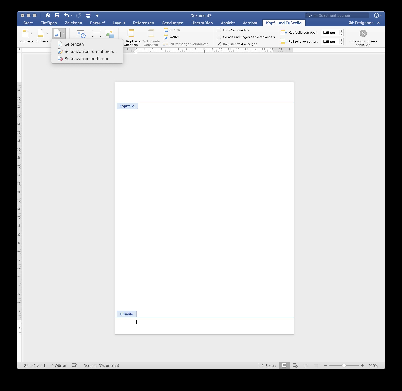 Seitenzahl in Word hinzufügen