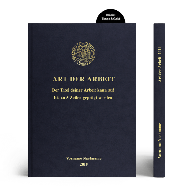 Hardcover Lederoptik dunkelblau Prägung Times & Gold